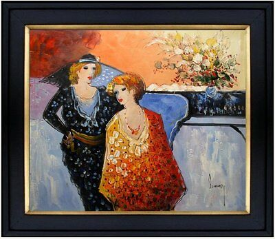 Framed Café Chatting, Hand Paintied Oil Painting 20x24in