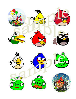 ANGRY BIRDS Assorted Edible CUPCAKE Decoration Image Icing Toppers