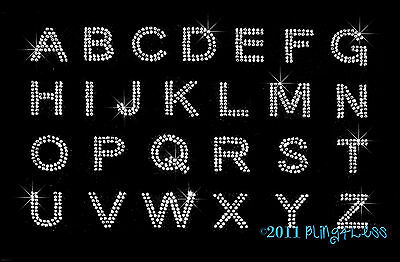 Any 15 BLOCK Letters - (Med) Clear ALPHABET Rhinestone Iron on Transfer Hot Fix