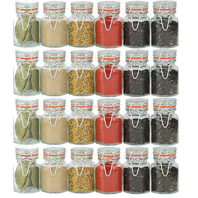 24x Clip Top Seal Spice Jars Dried Herbs Seeds Seasoning Pots Kitchen Containers