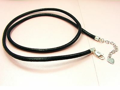 925 STERLING SILVER Heart Extend CHAIN Rubber or LEATHER Cord NECKLACE 2mm / 3mm
