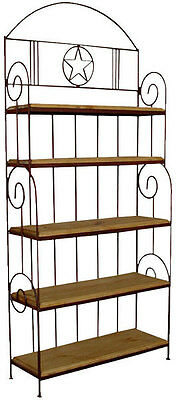 Iron Work Bakers Rack Rustic Western Kitchen Rack Pie Shelf Bookcase Plant Stand