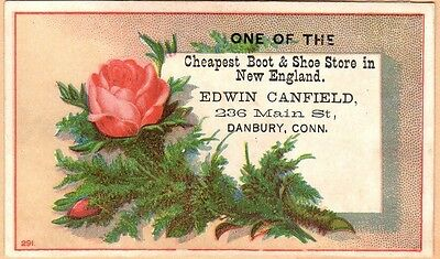Victorian Trade Card-Edwin Canfield Boots & Shoes-Danbury, CT-Roses