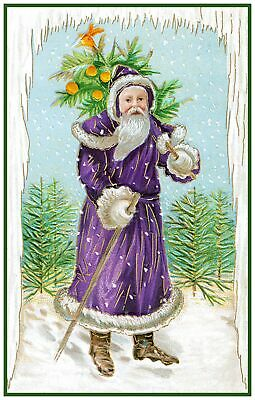 Victorian Father Christmas Santa Claus  # 217 Counted Cross Stitch Chart
