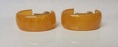 Translucent Honey Yellow Butterscotch Amber Plastic Lucite Hoop Clip On Earrings