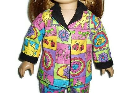 Sunny Days Pajamas PJs fits American Girl Dolls 18 in Doll Clothes Flowers Kites