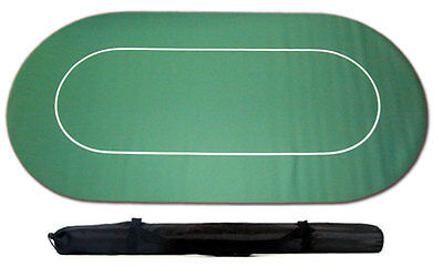 POKER TABLE GAME CLOTH LAYOUT RUBBER BACKED NON SLIP c/w CARRY CASE 180 x 90cm