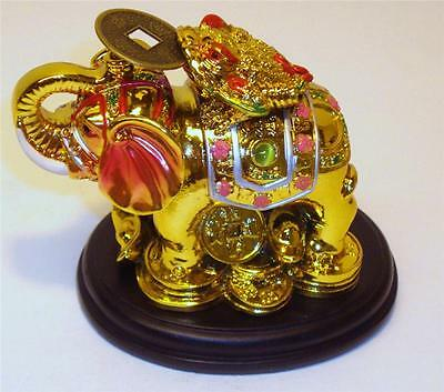 Chinese Oriental Gold Golden Feng Shui Elephant Money Coin Frog Toad Wealth NEW