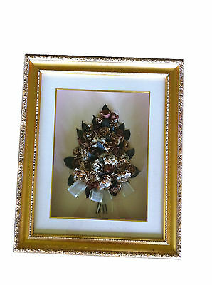 ♥  3D FLOWER ART: Gold Shadow Frame with Deep Box: Shabby-Chic ♥