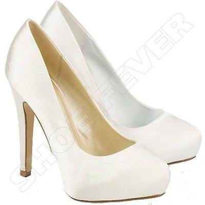 Womens Wedding Shoes Ladies High Heels Satin Bridal White Ivory Court Shoes Size