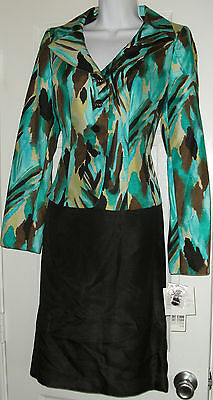 NWT Genuine SUIT STUDIO turquoise  jacket and black skirt  2 pc suit set, size 4