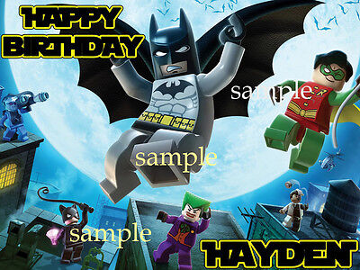BATMAN Lego Edible CAKE Image Icing Topper Decoration FREE SHIPPING