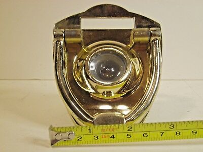 Vintage Nos Polished Brass One Way Wide Angle Optical Viewer With Knocker