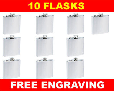 10 Personalized Flasks 6oz Groomsmen Usher Best Man Bridesmaid Engraved Gift