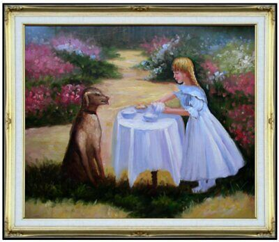Framed Girl with a Dog in the Garden, Hand Painted Oil Painting 20x24in