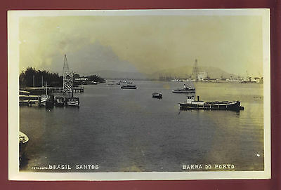 SANTOS, BRAZIL ~ PANORAMIC VIEW OF HARBOUR, BOATS ~ REAL PHOTO PC ~ c. 1940's