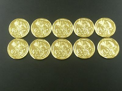 Ten 2012 EL Yunque National Forest 24 Kt. Gold Plated Quarters For Puerto Rico