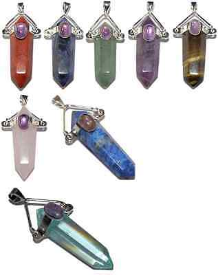Double Point Pendant With Additional Gemstone - Various Ones To Choose From