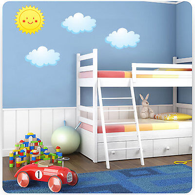 Childrens / Kids Bedroom Sun and Clouds Wall Art Stickers (Boys Decal Baby)