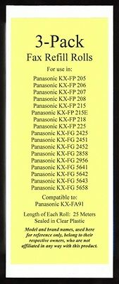 3-pack of KX-FA91 Fax Refills for Panasonic KX-FP215 KX-FP215E KX-FP218 KX-FP225