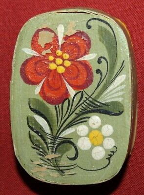 Vintage Hand Painted Floral Paper Mache Small Trinket Box