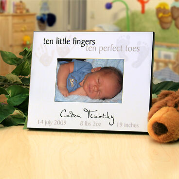 "Personalized Picture Frame for New Baby : ""Ten Little Fingers, Ten Perfect Toes"""