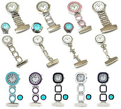 The Olivia Collection Nurses Fob Watch BACK LIGHT silver pink Ladies Light Gift