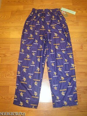 Nfl~Minnesota Vikings Boys Sleep~Pajama Pants~Xs 4/5~S 6/7~L 12/14~Xl 16/18~Nwt