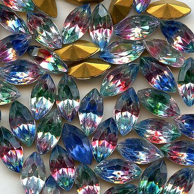 451304 *** 12 STRASS ANCIENS NAVETTE FOND PYRAMIDE 10x5mm MULTICOLORE