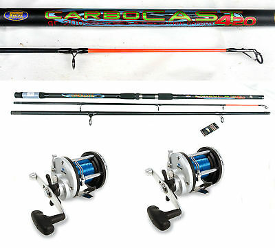 Lineaeffe Carbocast beachcaster rod 14ft+ Multiplier x2 sea fishing combo