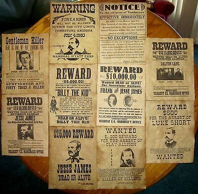 Jesse James Wyatt Earp  Wanted Posters Tombstone old West Outlaws Dalton Gang