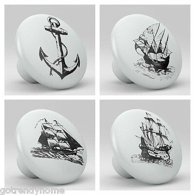 Set of 4 old boats ships sailing Ceramic Knobs Pulls Kitchen Drawer Cabinet 942