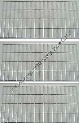 "3x CHROME GRID MESH 35"" x 17"" SHOP DISPLAY PANEL  x3 Wall Panels"