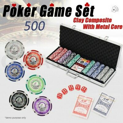 500 Chipset Poker Game Play Chip Set Casino Chips Dice Gamble Aluminium Case