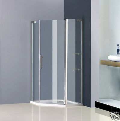 Aica 900x900mm frameless pivot shower enclosure and tray door pentagon cubicle