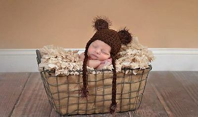 Crocheted Dark Brown Fuzzy Teddy Bear Hat size Newborn SALE 50% OFF SALE