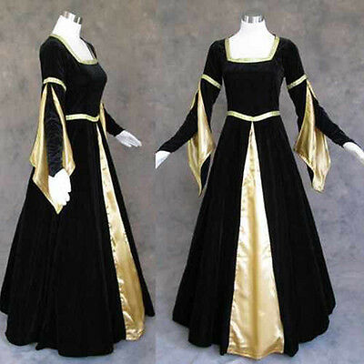 Black Velvet Renaissance Gown with Satin Panel and lined Arm Tippets size Large