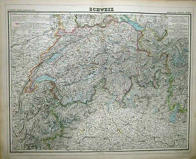1877 KIEPERT Folio Map SWITZERLAND Truly Amazing Hachure Work for Topography