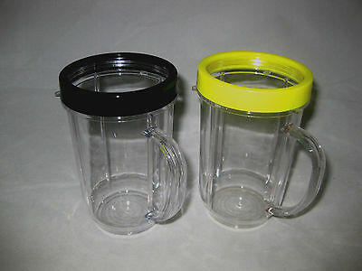 2-Genuine MAGIC BULLET Party Tall Handled Mugs Cups & Colored Lip Rings! NEW!