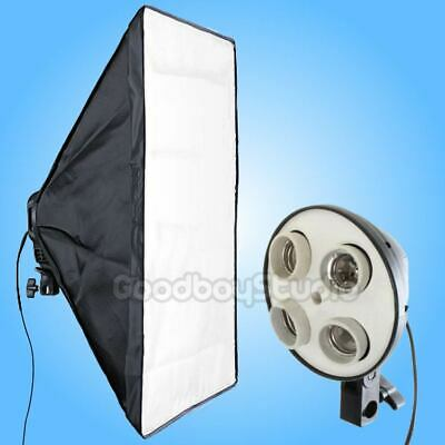 Studio 50x70cm 4in1 4X E27 Socket Lighting Lamp Light Head w/ Softbox EU UK Plug