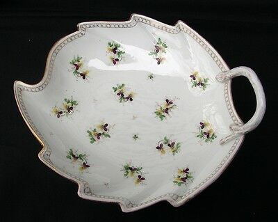 Antique Rare MEISSEN DRESDEN Leaf Shaped Handled Candy Dish KISS -ME-QUICK Pattn
