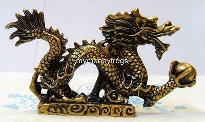 Brass/Copper Tone Chinese Oriental LUCKY Feng Shui Dragon Year Figurine #B4