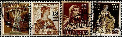 SWITZERLAND 1915  1/13/80  C.  Stamps of 1907-14 sovrastampati con nuovo valore