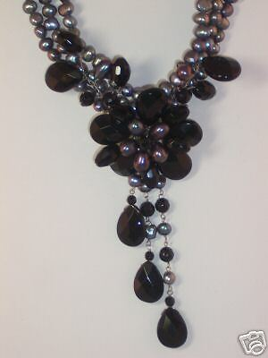 Runway Black Pearl & Onyx Flower Sterling Silver Necklace & Matching Earring Set