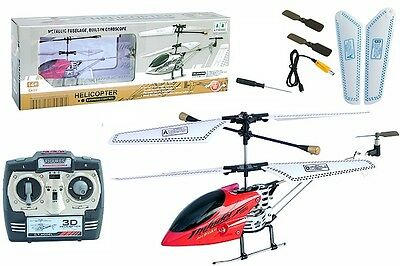 "Red 8"" Metallic Fuselage 3 Ch Remote Control Helicopter with Built in GYRO"