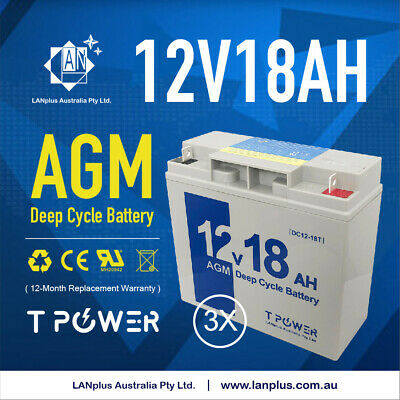 3 x NEW 12V 18AH Sealed Lead-Acid Battery AGM > 17ah 4 UPS Solar power scooter