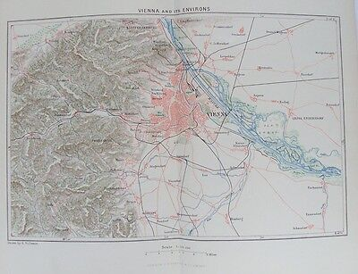 OLD ANTIQUE MAP VIENNA & ENVIRONS AUSTRIA c1880's by A VUILLEMIN 19th CENTURY