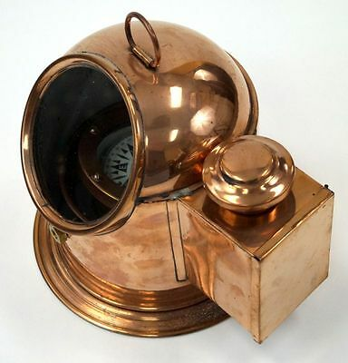Copper Binnacle Compass w/ Oil Lamp ~ Nautical Maritime