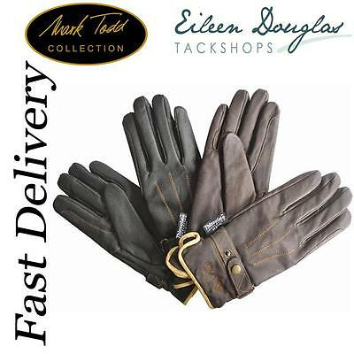 Mark Todd Winter Leather Thinsulate Gloves *** All Sizes *** Black & Brown ****