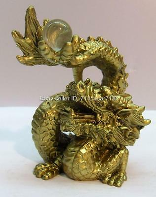 Chinese Oriental Lucky Feng Shui Water Fire Dragon Glass Ball Figurine Statue #Y